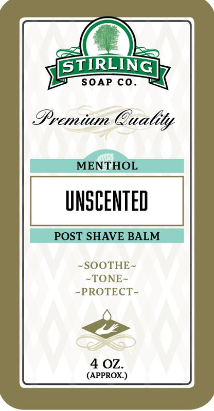 Unscented with Menthol Post-Shave Balm - Stirling Soap Company