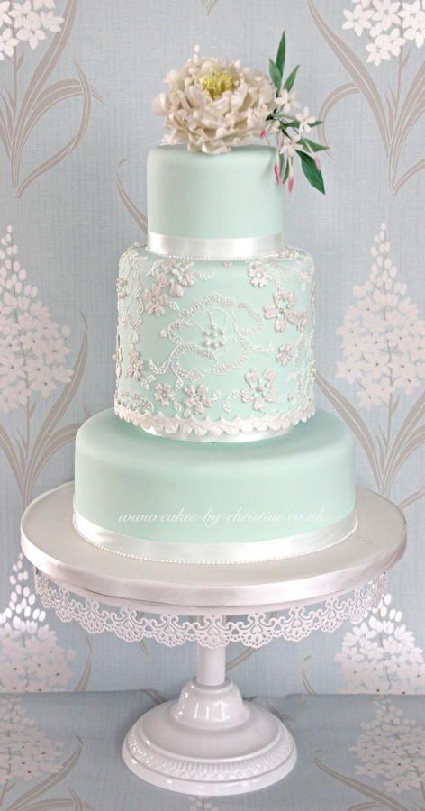 Mint peony and lace wedding cake design