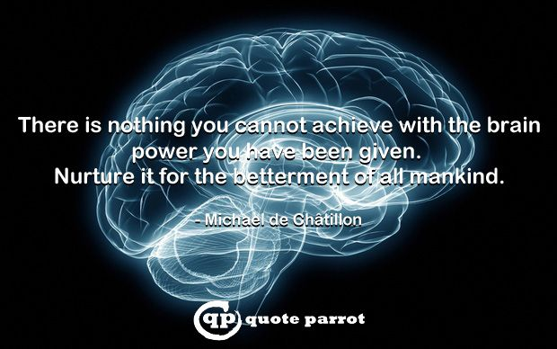 There is nothing you cannot achieve with the brainpower you have been given. Nurture it for the betterment of all mankind. - Michael de Châtillon