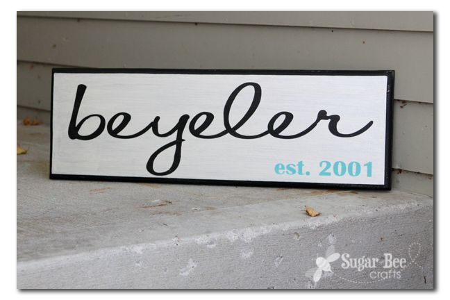 Family Name Sign Tutorial :: Sugar Bee Crafts LOVE the font!