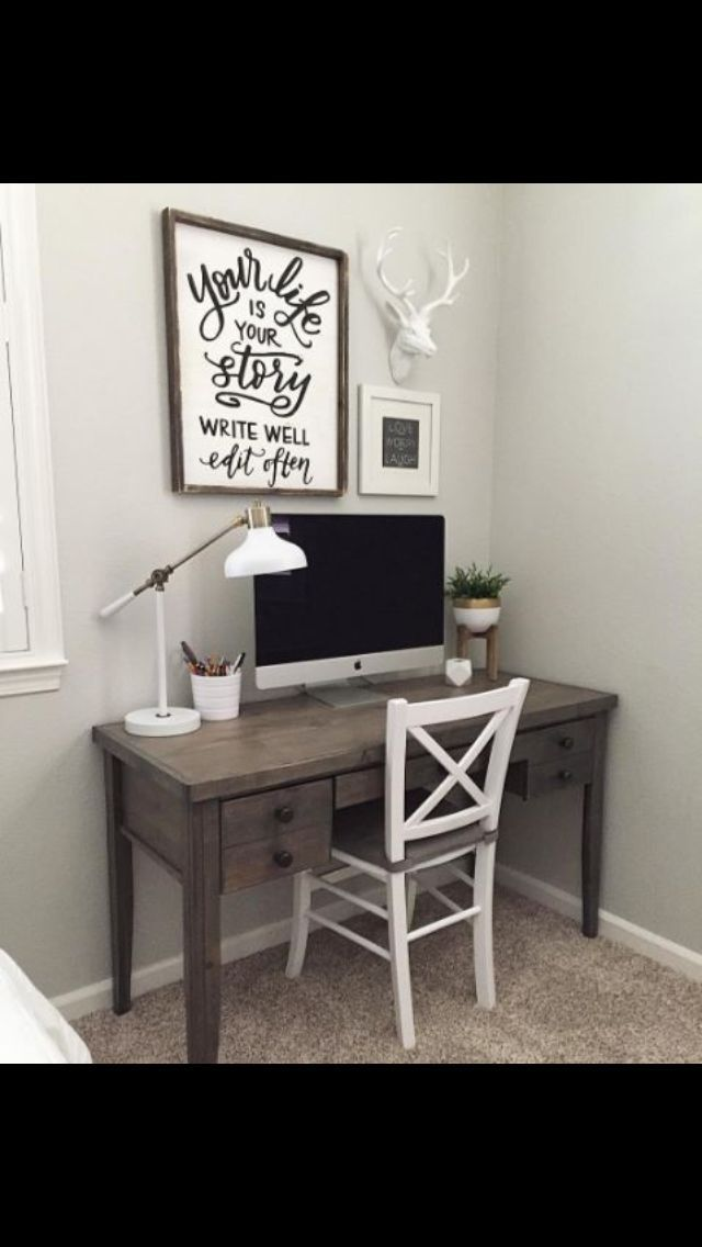 Small Simple Office Desk Can Be Incorporated Into Any Room Or Even Set Away In A Spare Closet Off Office Furniture Design Office Wall Decor Home Office Design