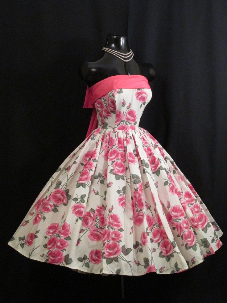 Vintage 1950s 50s Strapless Pink Floral Roses Taffeta Prom Party Dress