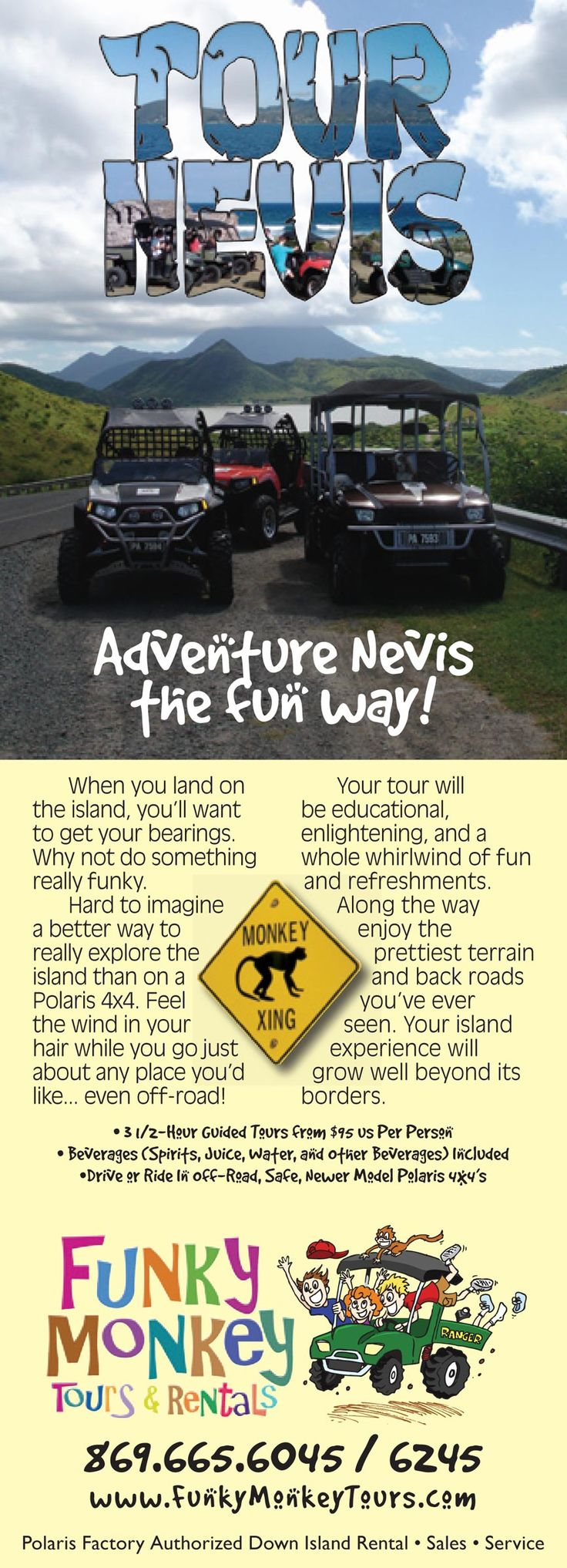 Nevis Island 4x4, ATV, Jet Ski, and Scooter Tours and Rentals | Funky Monkey Tours