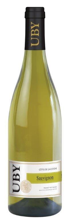 Sauvignon / domaine d'Uby   Nez frais d'agrumes, légèrement mentholé.   La bouche est vive et citronnée, la finale est fraîche.  Vin d'apéritif, il s'accommodera d'un poisson à chaire grasse (la Perche) ou encore avec un fromage de chèvre.   Servir frais à 10°C.  A consommer de préférence dans l'année