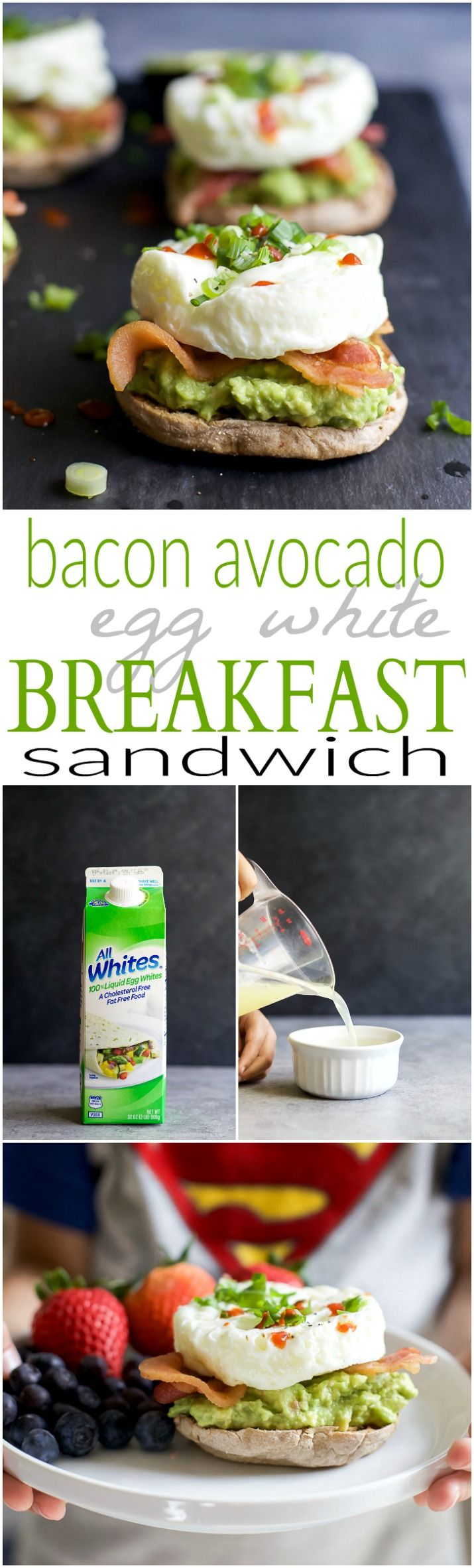 Easy 15 minute BACON AVOCADO EGG WHITE BREAKFAST SANDWICH, an easy power breakfast with 15 grams of protein and only 279 calories per serving! #allwhiteseggwhites #ad