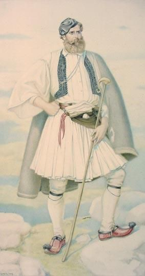 Greek Villagers Costume including Fustanella - Greek Costume Collection by NICOLAS SPERLING (Russia 1881-1940 / act: Athens).