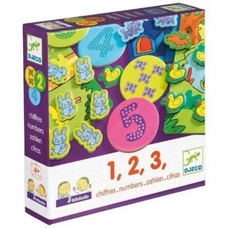 """DJECO Игра Eduludo Цифры от 3 лет  — 1689р. -------------------- Игра Eduludo Цифры. Серия игр Eduludo основана на принципе """"учись, играя"""". Таким образом ребенок постигает что-то неизвестное с удовольствием и очень легко. Данная игра знакомит ребенка с цифрами и элементарным счетом. Есть 4 варианты игры – игра на память (найти соответствия), игра на наблюдательность, игра на ассоциации, игра на счет.     *Игра на наблюдательность (3-4 года)  10 фишек с бабочками раскладываются на столе в…"""