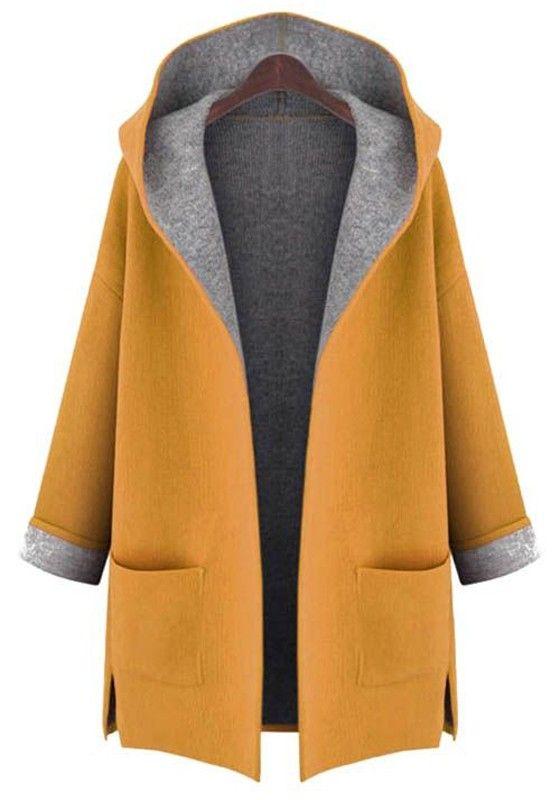 Gelbe Einfarbige den Taschen Kapuzen Süße Wollmantel Wintermantel Damen Outwear Mantel Top