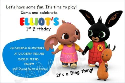 10 personalised birthday bing bunny invitations invites with envelopes