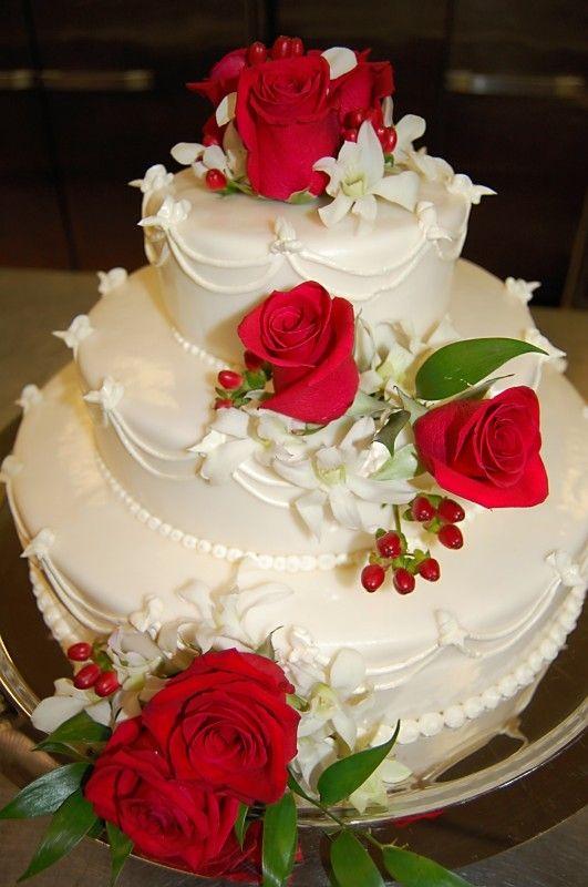 Beautiful Red Rose Wedding Cake..