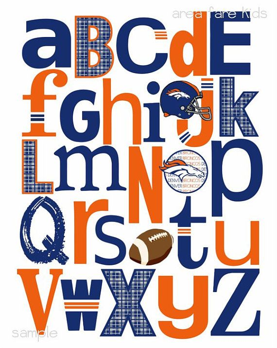 Denver Broncos football ABC nursery art print.