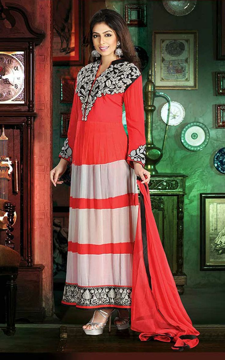 RED & OFF WHITE GEORGETTE ANARKALI SALWAR KAMEEZ - DIF 29518