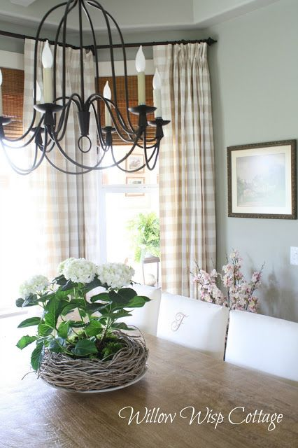 Canadian Cottage Style | Holly Mathis Interiors love wall color with drapes..