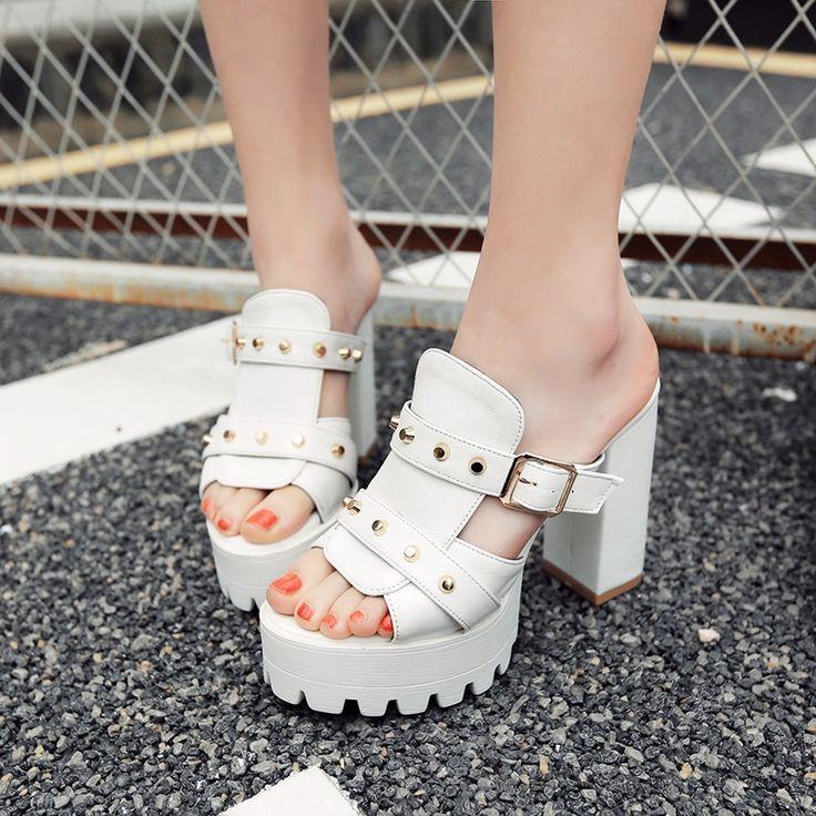Femmes Pantoufles Sexy Rivet Toe Chaussures Wedge Slip haut talon bascule ChaussuresOr 1hXSAB14x3