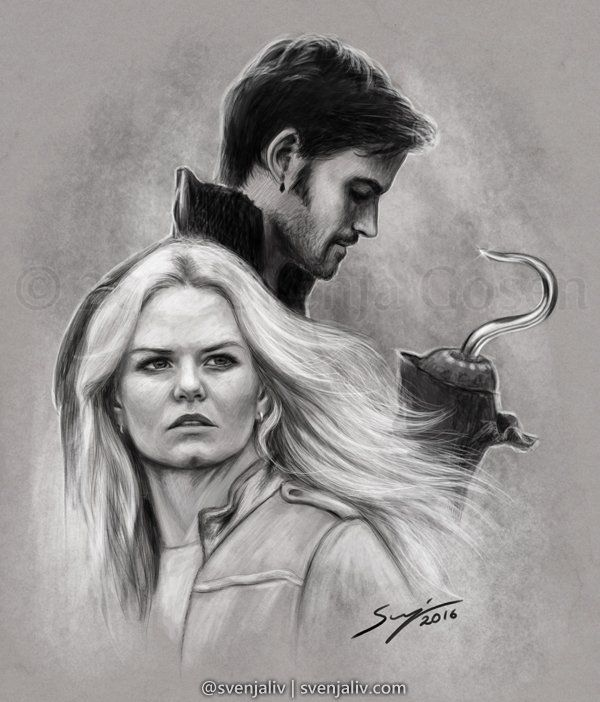 """Emma and Killian drawing by @SvenjaLiv """"""""We Can Be Heroes..."""" Another #CaptainSwan commission for ahookedhero on Tumblr! <3 #OnceUponATime"""""""