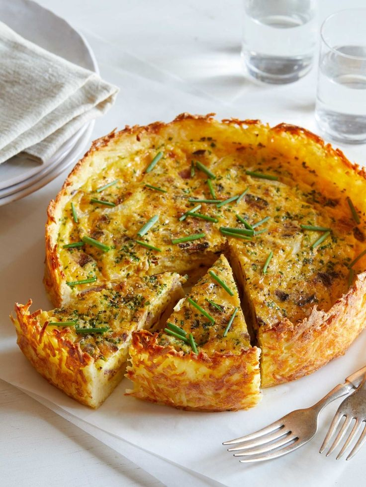 Bacon, Onion and Chive Quiche with a Hash Brown Crust