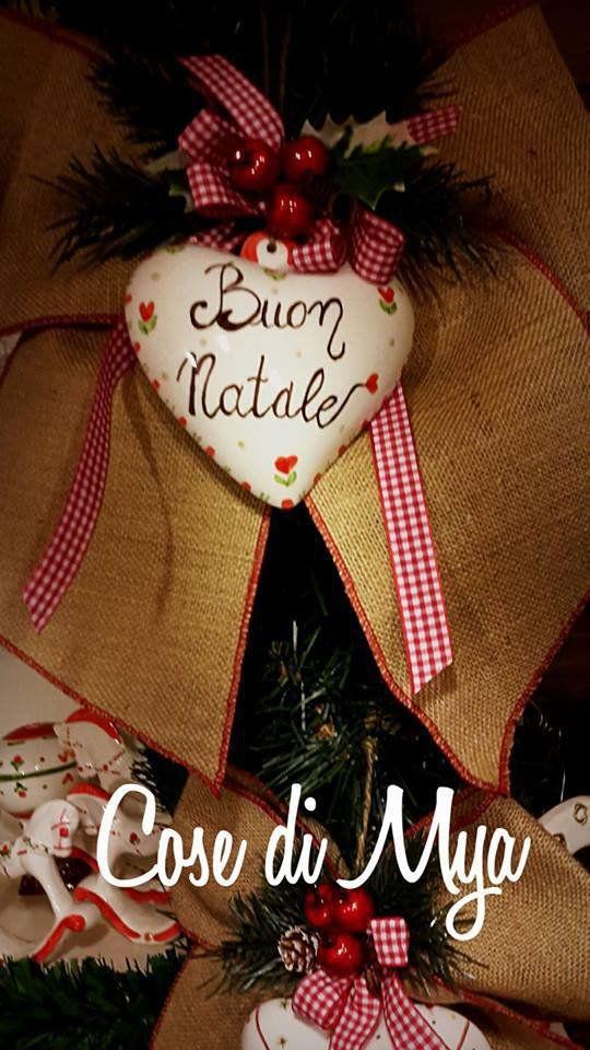 Fiocco Natalizio con Cuore in Ceramica, by COSE DI MYA, 25,00 € su misshobby.com