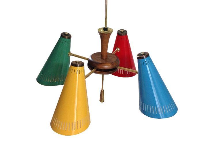 Lámpara de techo cuatro luces. USA. 1950 www.dessvan.com  #dessvan #dessvanantiguedades #vintagebogota #bogota #colombia #mueblesbogota #mobiliariobogota #calledelosanticuarios #lamparas #lamparasbogota #antiguedadesbogota #designbogota #midcenturybogota