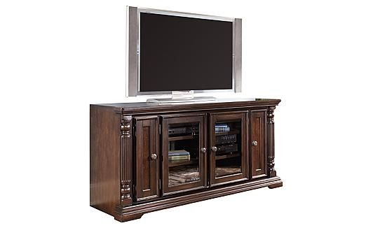 "Key Town TV Stand Primary Material:Wood Products and Other Display Color:Dark Brown Finish Dimensions:64""W x 21""D x 31""H Weight:162 lbs Ashley furniture"