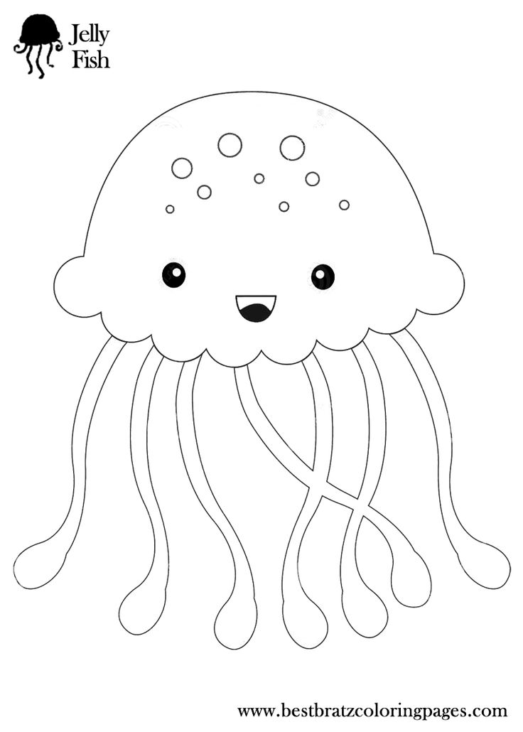 jellyfish coloring pages bratz coloring pages - Jellyfish Coloring Pages Kids