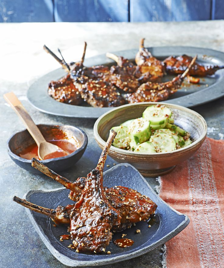 Korean-style lamb chops with spicy sesame cucumber salad: Try this easy recipe for a Korean bbq at home. Lamb chops marinated in a sweet-sour sauce, then grilled and served with spicy cucumber salad and chilli sauce.