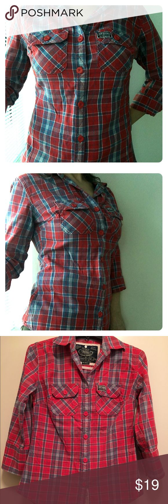 SUPERDRY Plaid Button Down Shirt : Lumberjack SUPERDRY Plaid Button down shirt. 3/4 sleeve w/ front pockets. Runs small. Superdry Tops Button Down Shirts