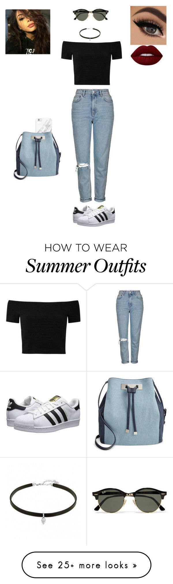 Tumblr summer outfit by treasurematlock on Polyvore featuring Lime Crime, Ray-Ban, Alice   Olivia, Topshop, adidas Originals and INC International Concepts