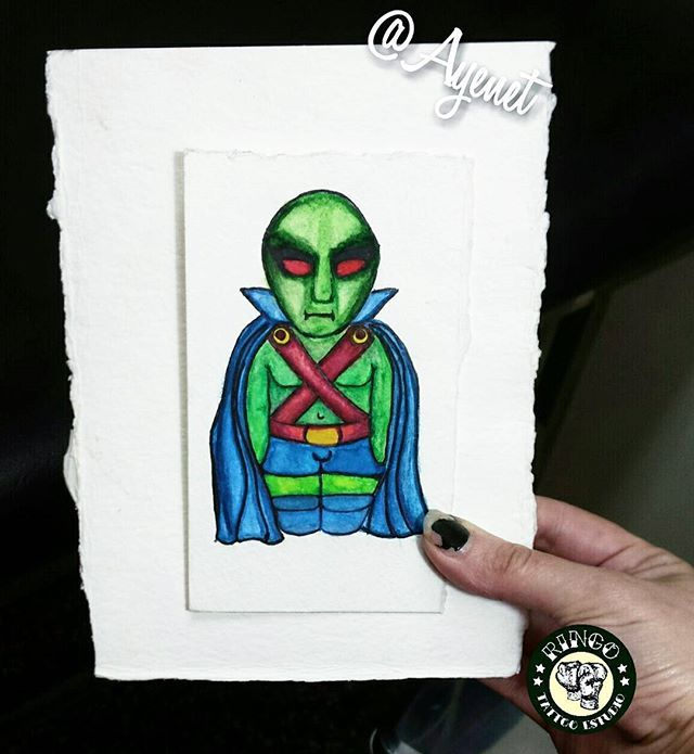 Y por último el que mas me gustó laburar y el que menos se juna  El Detective Marciano Matrioska alias Martian Manhunter cerramos ciclo Matrioskas Super Heroes se vienen un par de villanas  y más kawaii #watercolor #sketch #flashtattoo #dc #dccomics #martianmanhunter #comics #detectivemarciano #matrioskas #matrioska #kawaii #kawaiitattoo #tattattooworkers #tattooflash #tattoobuenosaires
