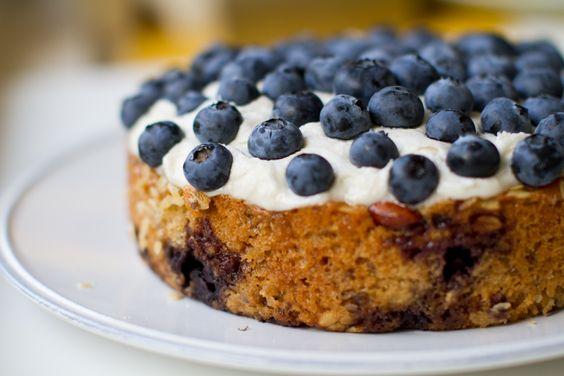 Frosted Blueberry Cake. Vegan slice of spring.