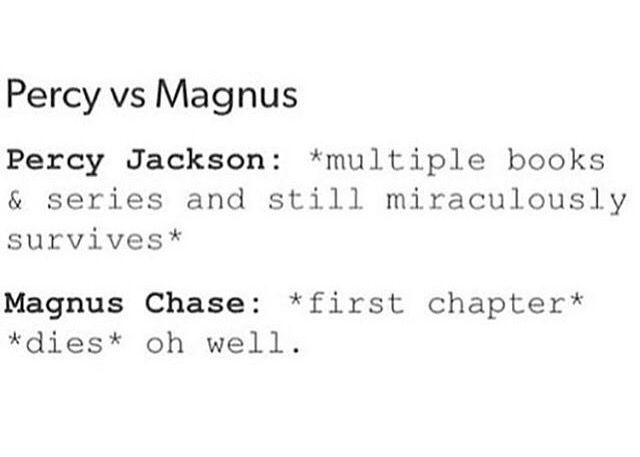 Oh well, difference: percy is a sword fighter, Magnus.. not so much