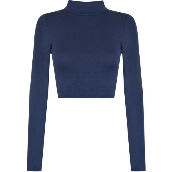 Harmony Turtle Neck Crop Top (€11) ❤ liked on Polyvore featuring tops, shirts, navy blue, long-sleeve crop tops, long sleeve tops, navy blue turtleneck, blue top and crop top
