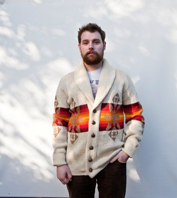 Vintage Pendleton Sweater 1970s Knit Button Up Mens