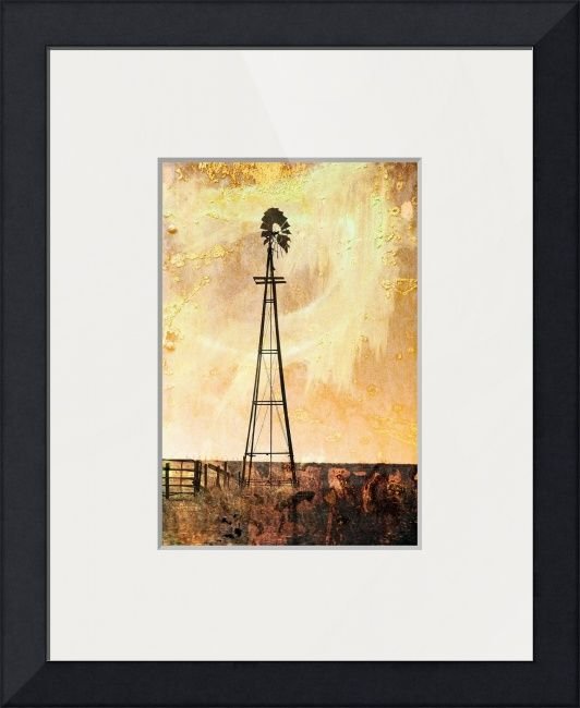 """""""Windy""""+by+Randi+Grace+Nilsberg,+Horten+//+When+the+winds+of+change+are+blowing+some+people+build+walls.+Others+build+windmills!+What+is+your+choice?+A+windmill+on+the+prairie+of+Oklahoma+takes+your+mind+back+in+time.+The+image+is+a+photo+processed+with+textures.+//+Imagekind.com+--+Buy+stunning+fine+art+prints,+framed+prints+and+canvas+prints+directly+from+independent+working+artists+and+photographers."""