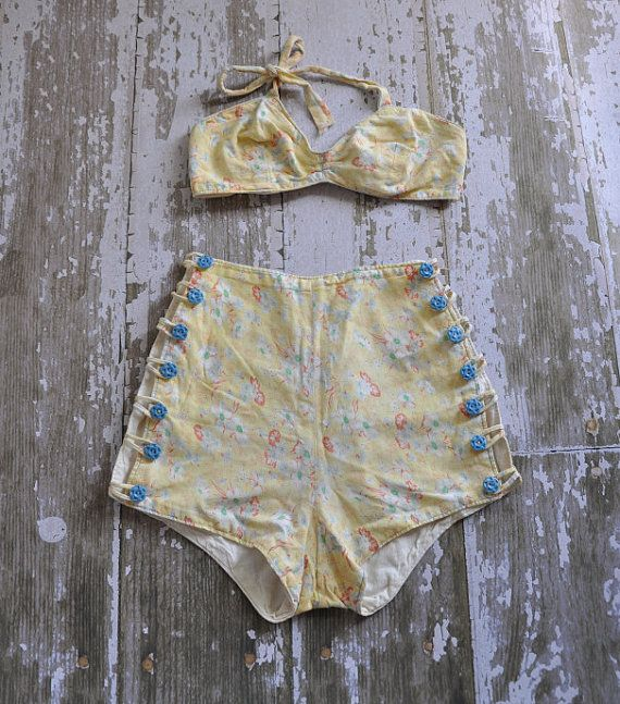 vintage rare 1940s 2pc yellow floral bombshell swimsuit #bikini perfect for framing as wall art! mm divine $285.00 USD on @etsy