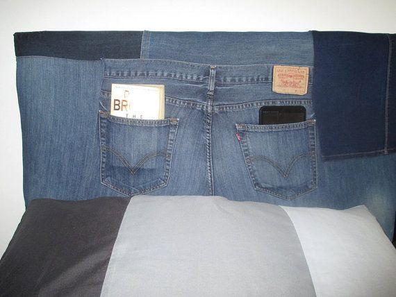 Denim jeans custom made headboard by SRUpholstery on Etsy