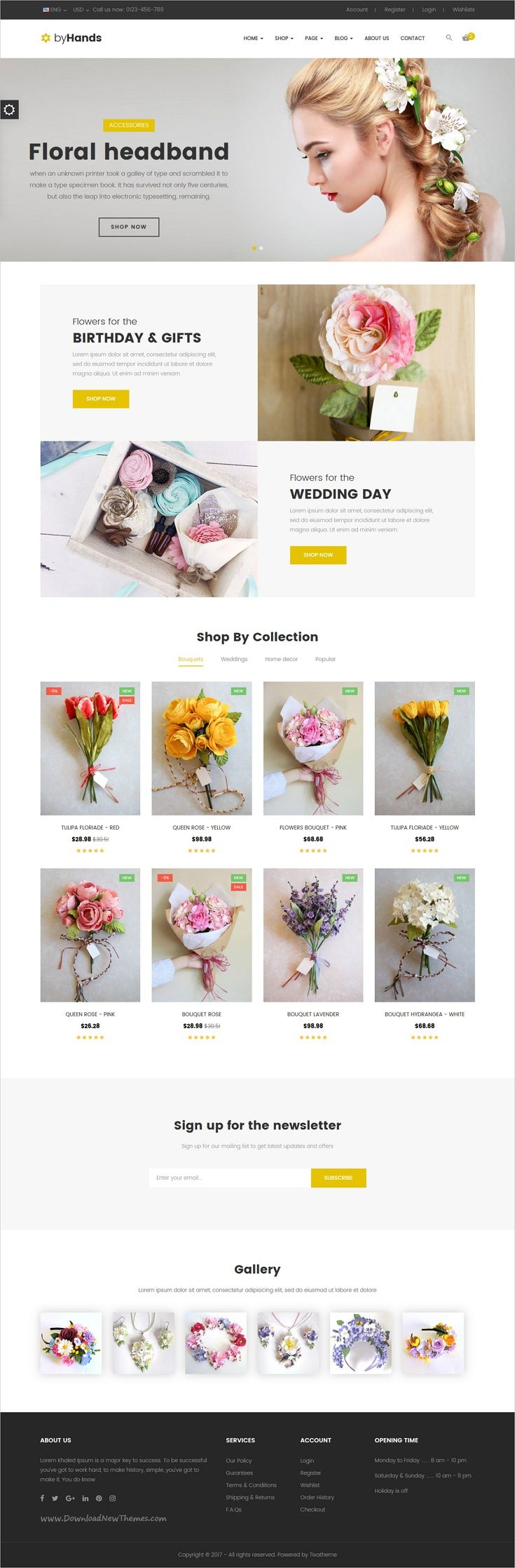 ByHands is a wonderful 3in1 responsive #HTML bootstrap template for #flower #shop eCommerce websites download now➩  https://themeforest.net/item/byhands-flower-store-html-template/19296235?ref=Datasata