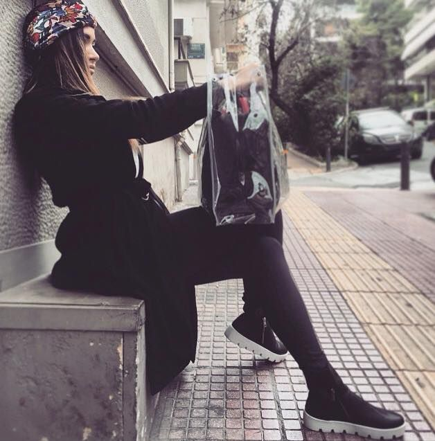 Olga Farmaki wears Waterproof Bag by alexandRA-IN winter