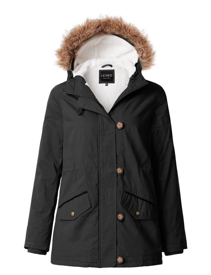 LE3NO Womens Cozy Sherpa Lined Anorak Military Parka Jacket with Detachable Hoodie