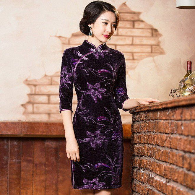 Elegant Purple Pleuche Reformed Cheongsam Mini Floral Dress - iDreamMart.com