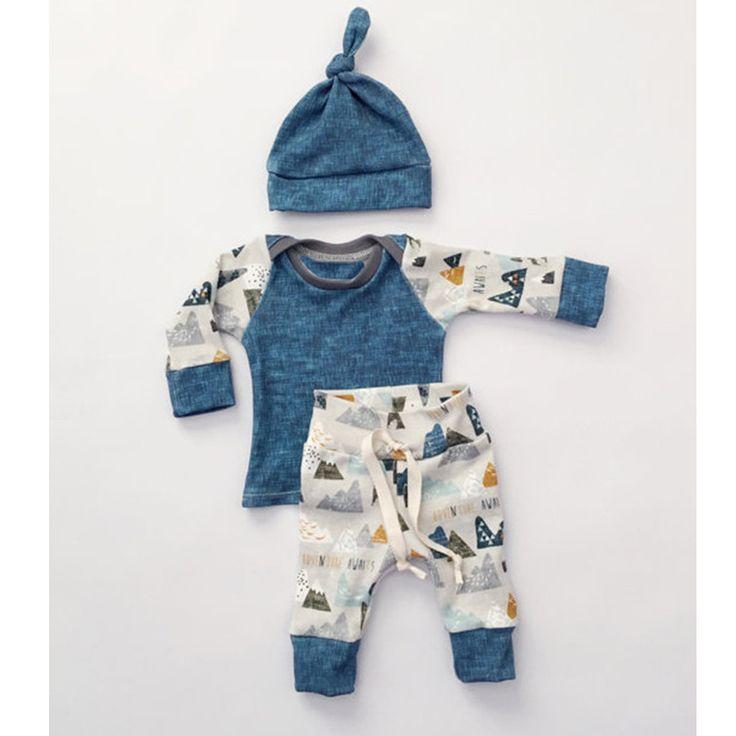 Fashion Baby Boy Clothes Newborn Outfits Autumn Boys Blue Cotton Long Sleeve Boy Set 3PCS Shirt Pants Set Casual Boys Clothing