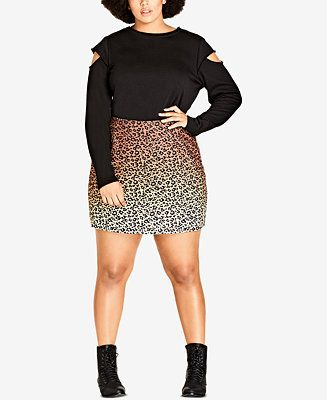 City Chic Trendy Plus Size Leopard-Print Mini Skirt - Trendy Plus Sizes - Plus Sizes - Macy's