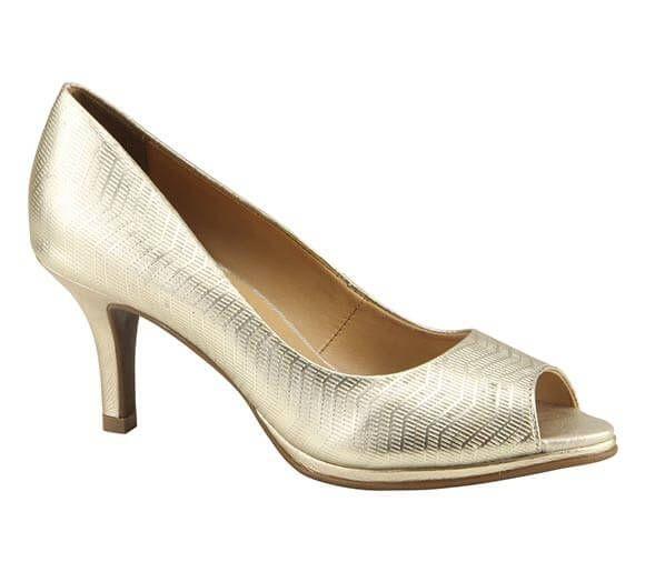 Sapato peep toe em couro metalizado | Sapatos | Bottero Calçados