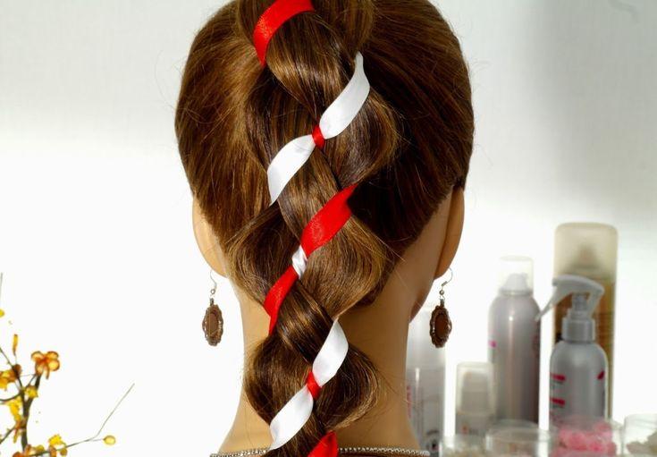 Плетение косы из 4-х прядей (2+2 ленты). Плетение косы с лентами. (+play...