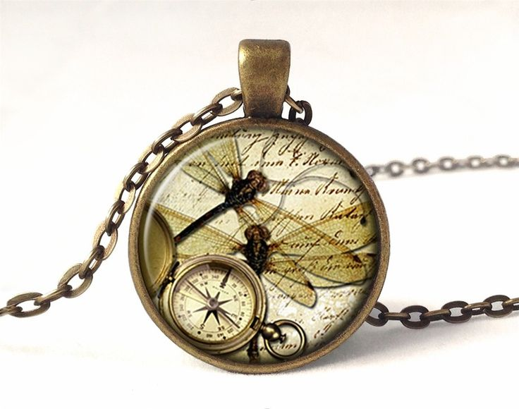 Dragonflies with compass Necklace, 0594PB from EgginEgg by DaWanda.com