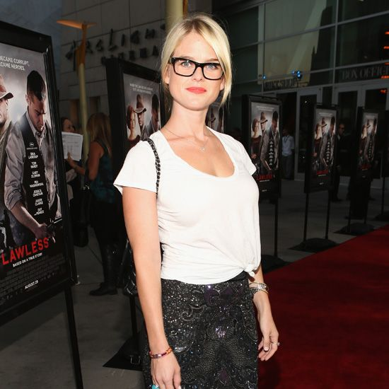 Geeky Meets Fancy: Alice Eve's Embellished Skirt and Glasses