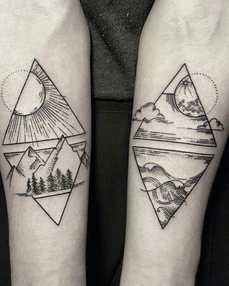 #tattooed #armtattoo #bodyart #doubletattoo #ink #tattoos #art #landscape #naturetattoo #geometrictattoo #geometric #mountains #oceantattoo #suntattoo #moontattoo #inked #tattoo #linework #dotwork #dotbydot #greattattoos #bicemsinik #artist #tattooartist #tattooart by essena.tattoos