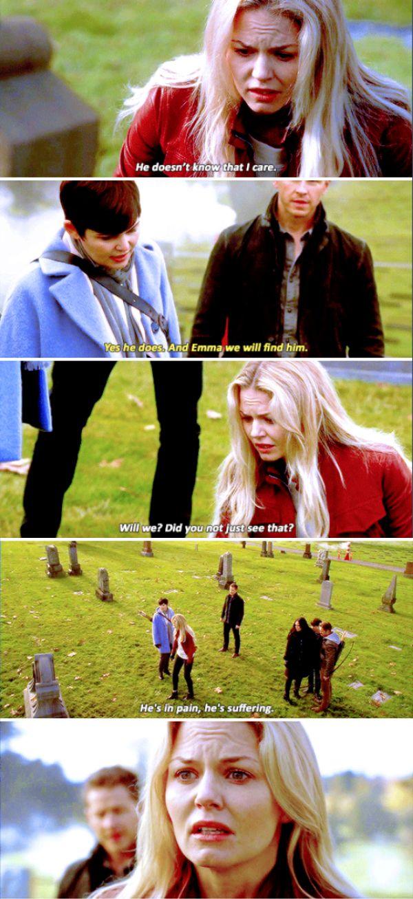 """He doesn't know that I care. He's in pain, he's suffering"" - Emma, Snow, David, Henry, Regina and Robin #OnceUponATime"