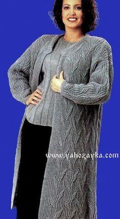 Теплое пальто спицами с аранскими узорами. Вязаные пальто спицами со схемами.   Я Хозяйка