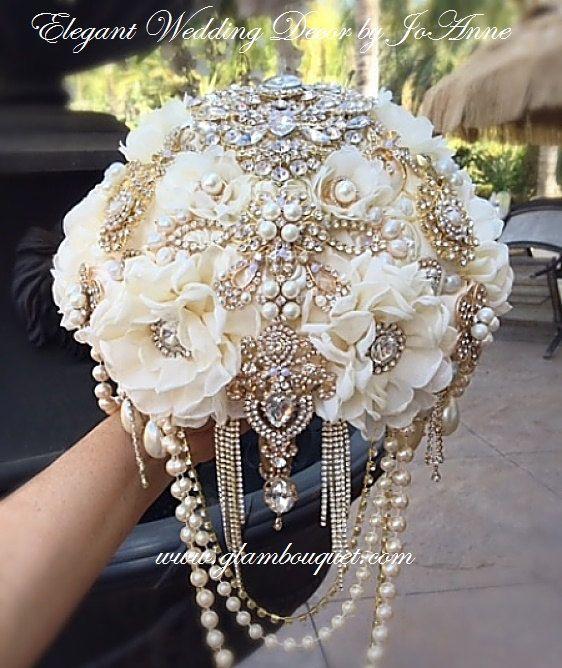 Gatsby Brooch Bouquet Gold Brooch Bouquet by Elegantweddingdecor                                                                                                                                                                                 More