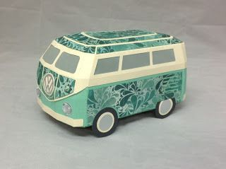 "This German Bus from SURF SHACK SVG KIT is beautiful. Tracey's ""Kombi Van"" is fabulous in this patterned paper! She couldn't have picked a better paper! I'm ready for a fun ride! How about you!"